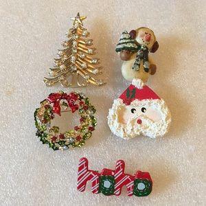 Vintage Christmas brooch lot of 5
